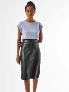 Čierna púzdrová koženková sukňa Dorothy Perkins Petite