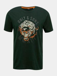 Tmavozelené tričko s potlačou ONLY & SONS Mike