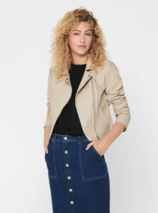 Béžová koženková bunda Jacqueline de Yong Simba