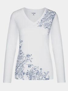 Biele dámske kvetované tričko LOAP