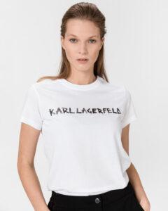 Karl Lagerfeld Graffiti Logo Tričko Biela