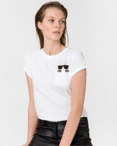 Karl Lagerfeld Ikonik Karl Pocket Tričko Biela