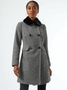 Bielo-čierny vzorovaný zimný kabát Dorothy Perkins Petite