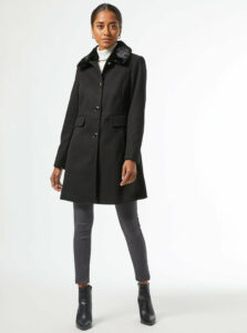 Čierny zimný kabát Dorothy Perkins Petite