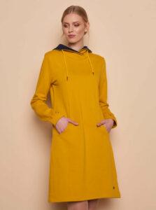 Žlté mikinové šaty s vreckami Tranquillo