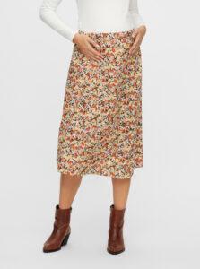 Béžová kvetovaná tehotenská sukňa Mama.licious