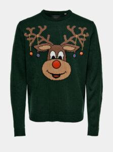 Zelený sveter s vianočným motívom ONLY & SONS Xmas