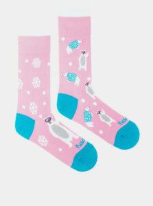 Ružové vzorované ponožky Fusakle Snowflake méďa