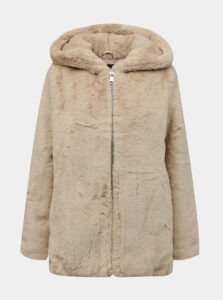 Béžový kabát z umelého kožúšku TALLY WEiJL