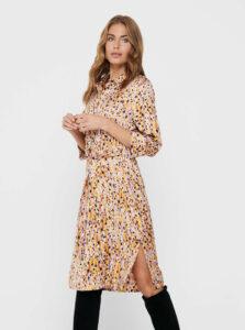 Béžové vzorované košeľové šaty Jacqueline de Yong
