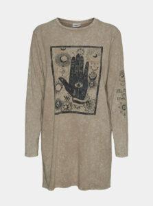Béžové dlhé tričko Noisy May Zodiac