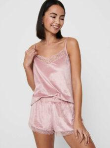 Ružové saténové pyžamo s krajkou ONLY