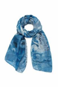 Desigual modré šatka Foul Art Picture Azul