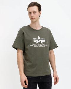 Alpha Industries Basic Tričko Zelená