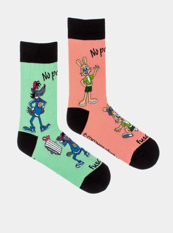 Ružovo-zelené vzorované ponožky Fusakle No počkej!