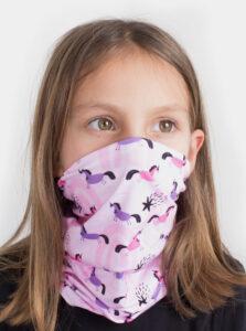 Ružová detský vzorovaná šatka 3v1 Fusakle