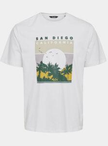 Biele tričko s potlačou ONLY & SONS Anthony
