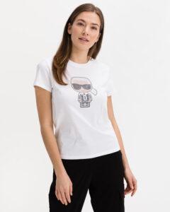 Karl Lagerfeld Ikonik Rhinestone Tričko Biela