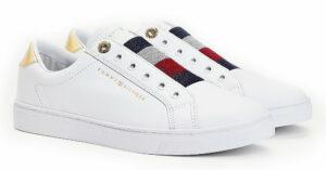 Tommy Hilfiger biele tenisky Elastic Slip on Sneaker