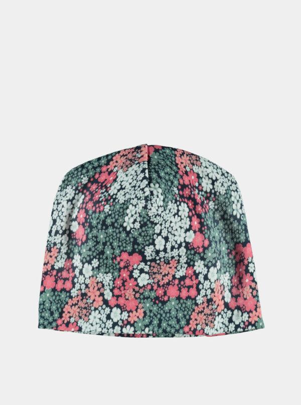 Ružovo-zelená dievčenská kvetovaná čiapka name it Marlow