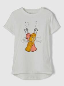 Biele dievčenské tričko s potlačou name it Fairy