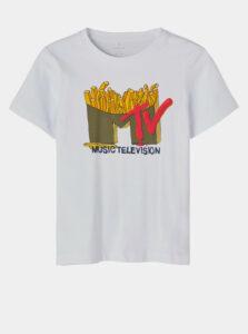 Biele chlapčenské tričko s potlačou name it MTV