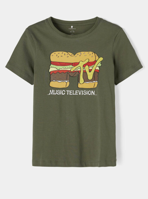Zelené chlapčenské tričko s potlačou name it MTV