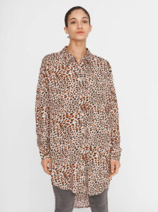 Béžová vzorovaná dlhá košeľa Noisy May Fiona
