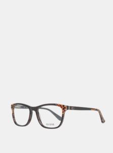 Hnedo-čierne dámske vzorované okuliarové obrúčky Guess