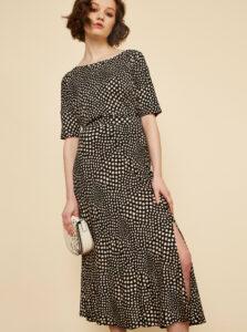 Béžovo-čierna vzorovaná midi sukňa s rozparkom ZOOT Norine