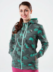 Zeleno-šedá dámska vzorovaná mikina s kapucou LOAP