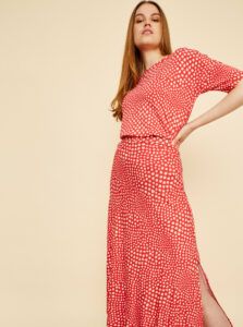 Béžovo-červené dámske vzorované tričko ZOOT Normandie