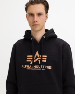 Alpha Industries Basic Hoody Fool Print Mikina Čierna