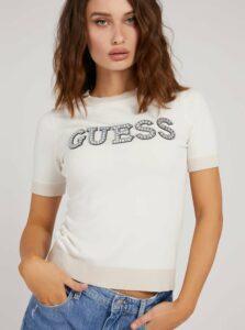Krémové dámske svetrové tričko s ozdobnými detailmi Guess