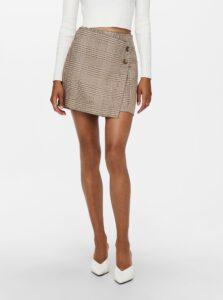 Béžová kockovaná sukňa ONLY Gloss