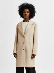 Béžový kabát s prímesou vlny Selected Femme New Sasja