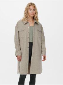 Béžová dlhá košeľová bunda ONLY Eleaine