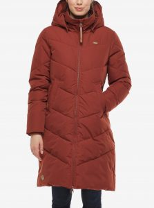 Červená dámska dlhá prešívaná zimná bunda s kapucou Ragwear Rebelka