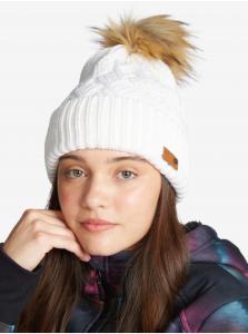 Biela dámska rebrovaná zimná čiapka s bambuľou Roxy Ski Chic